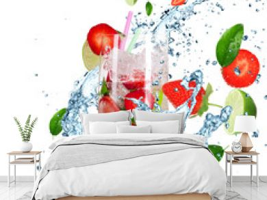 Fruit Cocktail with splashing liquid isolated on white