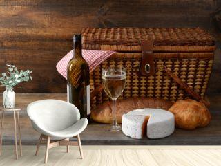 vintage picnic basket with wine