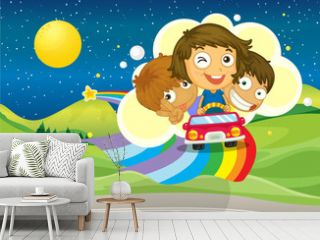 Three kids riding on a car passing over the rainbow