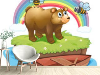 A big bear and two bees