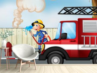 A fireman rescuing a fire near the street