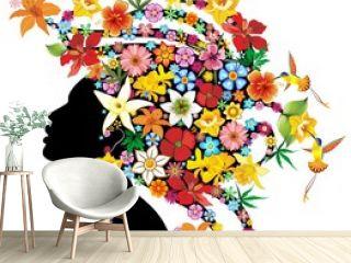 Girl's Portrait Exotic Flowers-Ritratto Ragazza Fiori Esotici