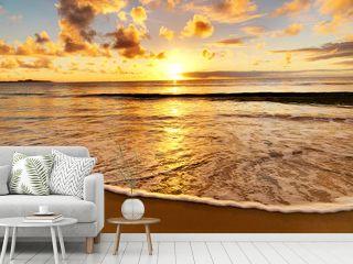 beautiful sunset on the  beach
