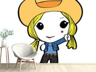 Blond cowgirl cartoon