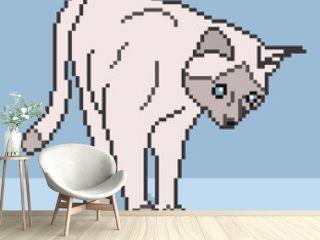Pixel Cat Background - vector illustration
