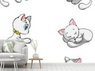 Vector animal characters. Isolated objects. Cats