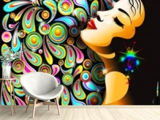 Bella Ragazza Bacio-Girl's Kiss-Colorful Pop Art Design