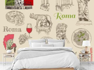 Set of Rome doodles - for design and scrapbook - hand drawn in v