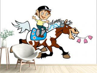 little boy on pony back