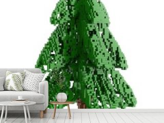 pixelized The Christmas fir tree isolated on white background