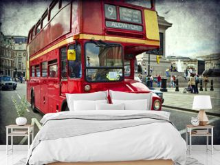 English red bus on the streets of London