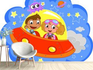 Bambini che viaggiano nello spazio su una navicella, vettore