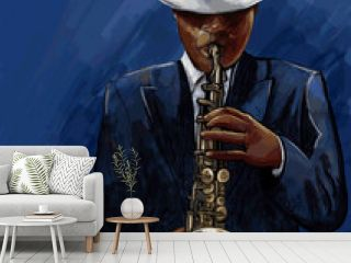 saxophonist playing saxophone on a blue background