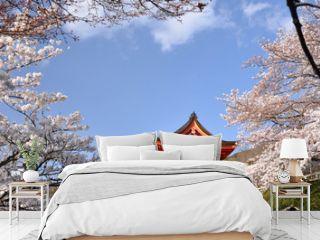 Shrine with cherry blossom