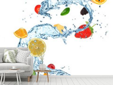 Fruit in water splash over white