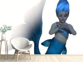 Turquoise Mermaid Baby on White
