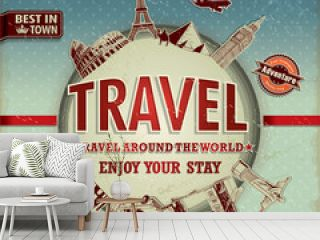 Vintage travel around the world poster