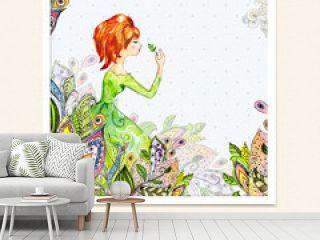 Girl in flowers watercolor