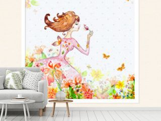 Card girl in flowers watercolor