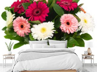 Bouquet of colorful gerbera flowers isolated on white background