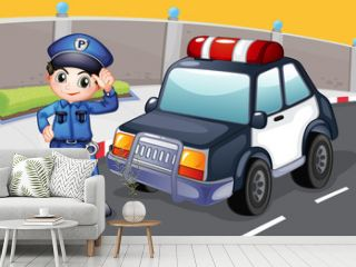 An officer and his patrol car