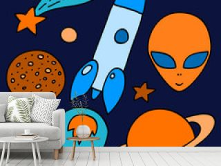 Colorful space elements set in orange and blue, vector