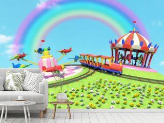 parco divertimenti con arcobaleno
