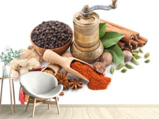 still life with spices and herbs isolated on white