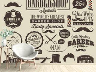 Collection of vintage grunge barber shop labels