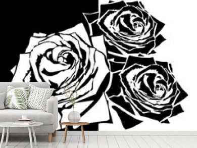 White silhouette of rose with leaves. Black background