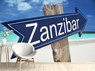 Zanzibar sign on the beach