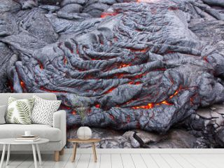 Basaltic lava flow solidifying slowly