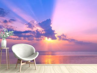 Beautiful pink sunset over sea
