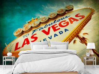 Famous Welcome to Las Vegas sign with vintage texture