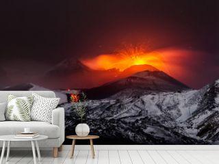 Eruption volcano Etna lava flow