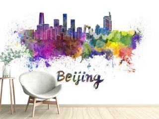 Beijing skyline in watercolor