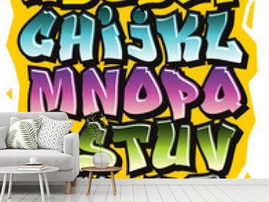 Cartoon comic graffiti doodle font alphabet. Vector