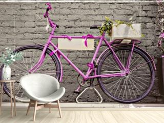 vintage bicycle against old brick wall