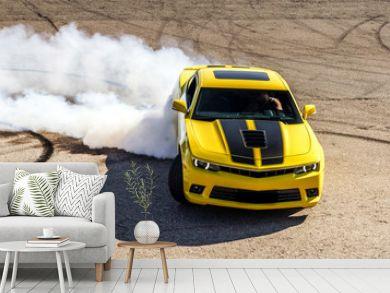 Luxury yellow sport car
