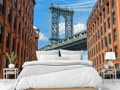 New York City Brooklyn old buildings and bridge in Dumbo