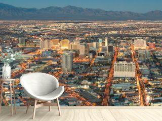 Las Vegas Downtown - Aerial view of generic buildings before sun