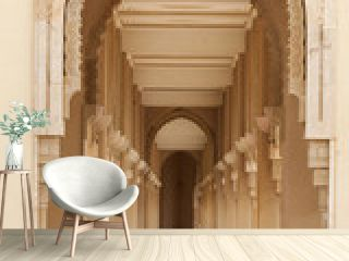 Casablanca, Morocco: Intricate exterior marble and mosaic stone