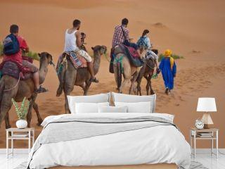 Camel caravan with tourists
