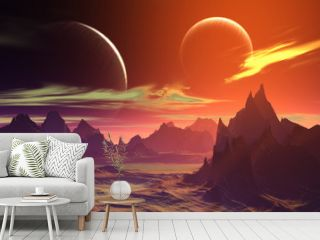 3D rendered fantasy alien planet. Rocks and  moon