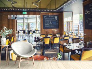 empty restaurant  in Amsterdam hotel ( Le Europe)