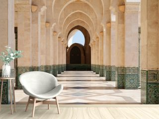 Morocco. Arcade of Hassan II Mosque in Casablanca