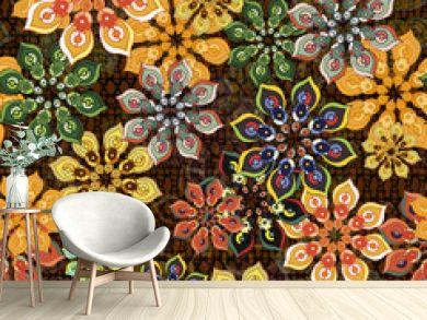 seamless flower pattern on brown texture