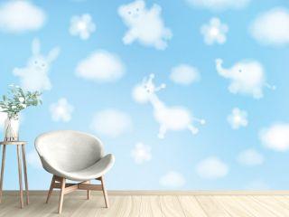 Vector sky background, animals cartoons.