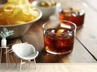 Vermouth glass with appetizers