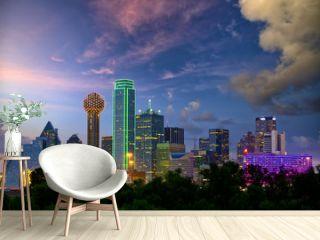 Dallas City skyline at dusk, Texas, USA
